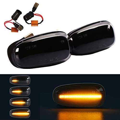 2 Stück LED Dynamische Seitenblinker, Rauch Seitenmarkierung, Fließende Seitenmarkierungen Ersatz für O-Pel Zafira A Astra G (Schwarz Linse)