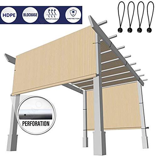 Panel De Parasol, Pérgola Toldo De Cubierta De Sombra, con Ojales Varillas Ponderadas De Aleación De Aluminio Respirable Bloque UV para Terrazas Al Aire Libre, Porche (Color : Beige, Size : 0.6x3m)