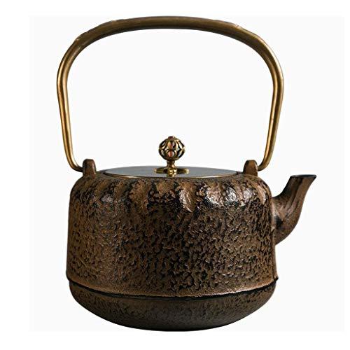 NANSONG Retro Cast Iron Teapot Tea Stove Set Tea Set Home Tea Maker Kettle Uncoated Copper Handle/Lid (Size : 1.0L)