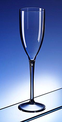 Lot de 6 flûtes à champagne en plastique polycarbonate incassable. Idéal pour une utilisation générale ou Brunissage à Mariage et Chistenings.