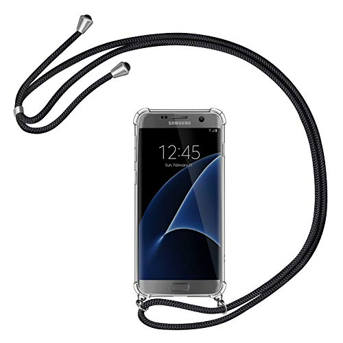 AROYI Handykette Handyhülle kompatibel mit Samsung Galaxy S7 Hülle mit Kordel zum Umhängen Necklace Hülle mit Band Schutzhülle Transparent Silikon Acryl Hülle Schwarz Silber