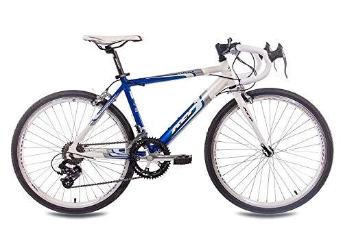 KCP 24 Zoll Kinder Rennrad - Runny Weiss blau - Kinderfahrrad mit 14 Gang Shimano Kettenschaltung für Jungen und Mädchen - Fahrrad für Kinder zwischen 9-13 Jahre und 1,35m bis 1,60m Körpergröße