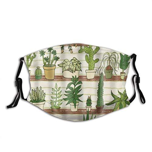 Grüne Cartoon-Pflanze Mexikanische Texas-Kaktus-Pflanzen-Spikes Cartoon Wie Kunst-Uv-Schutz Wiederverwendbare Gesichtsschutzhülle Mit Austauschbaren Filtern 1 Stück