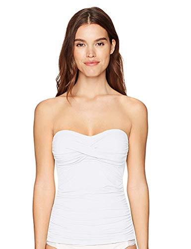 Anne Cole Women's Solid Twist Front Shirred Bandeau Tankini Swim Top, White, X-Small