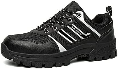 Unisex Industrial Steel Toe Work Shoes For Men And Women Black Brown 7D PR