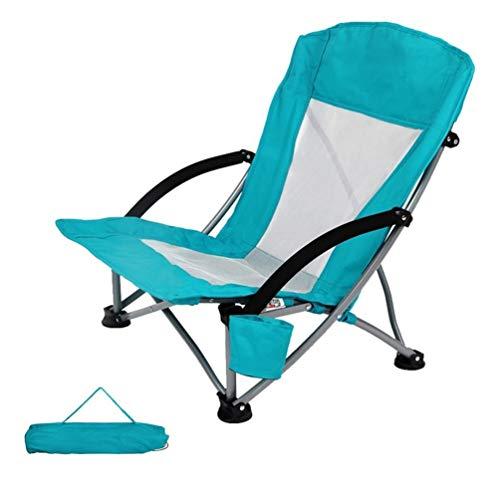 Outdoor Klappstuhl, Low Sling Beach Camping Konzertstuhl Compact Picknick Festival Stuhl Mit Tragetasche Oxford Stoff Aluminiumrahmen Gepolstert Mit Getränkehalter Aufbewahrungstasche ( Color : Blue )