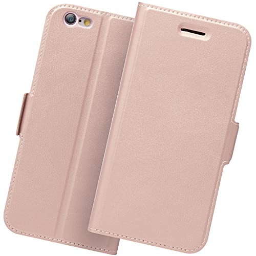 Hülle iPhone 6, Handyhülle iPhone 6S, Schutzhülle iPhone 6S, Klapphülle iPhone 6S, Tasche iPhone 6, Handytasche iPhone 6 Klappbar, Apple 6S Hülle, Leder Etui Folio/Flip Phone Cover Case. Rosegold