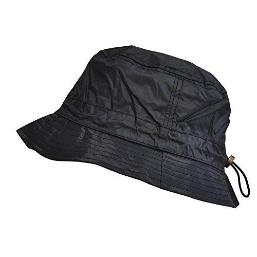 TOUTACOO, Cappello da Pioggia Aspetto Nylon - Regolabile (01-Nero)