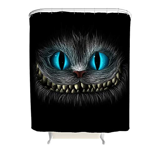 RQPPY Crazy Cat Duschvorhang Anti-Schimmel Polyester Stoff Wohnaccessoires White 120x200cm