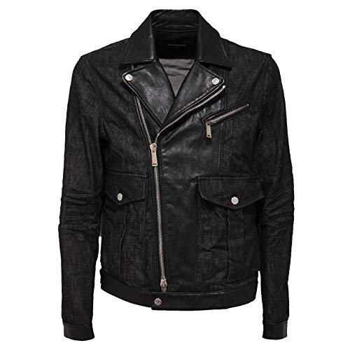 DSQUARED2 9831Q Giubbotto uomo D2 chiodo Jeans Pelle Jacket Men
