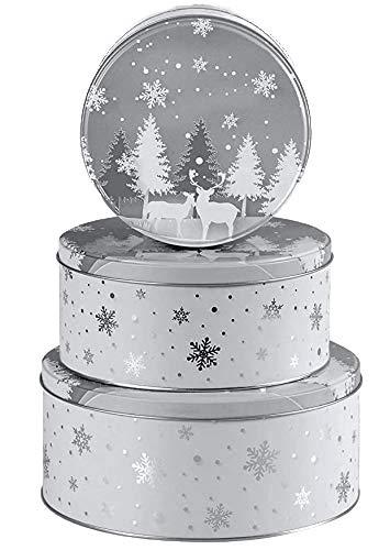 khevga Keksdose Weihnachten Blech Plätzchendose Set (flach, Silber)