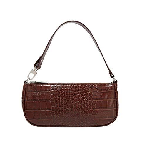 Vintage Shoulder Bag Classic Clutch Bag Rachel Bag for Women (Coffee-crocodile pattern)