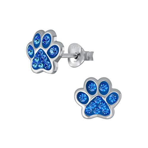 Laimons Pendientes para niñas y niños, joyas para niños, diseño de huellas de perro, con purpurina en azul Capri de 7 mm, pequeños de plata de ley 925