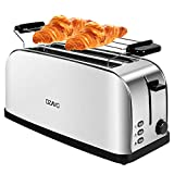 OZAVO Grille Pain Inox Baguette Automatique Toaster Rétro 4 Tranches Extra Large Double Fentes...