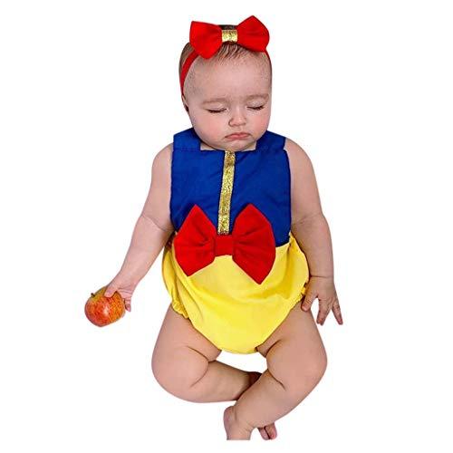Topkeal - Body para bebé sin mangas + cinta para el pelo, conjunto para niños azul 100 cm