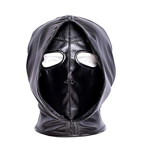 Leather Hood Eye Mask Black Mysterious Cosplay Lace Up Mask Full Face Headgear