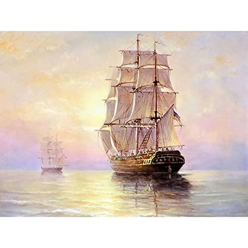 Pintura de diamante redondo completo barco DIY conjunto de punto de cruz paisaje barco bordado mosaico artesanía costura arte regalo A7 60x80cm