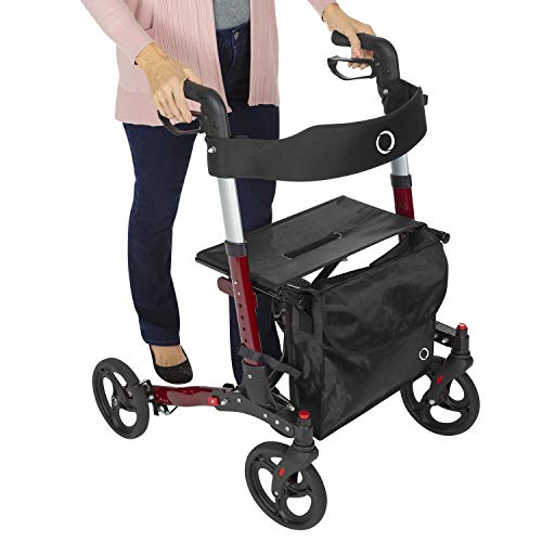 Vive Mobility Rollator Walker - Folding 4 Wheel Medical Rolling Walker with Seat & Bag - Aid for Adult, Senior, Elderly & Handicap - Aluminum Transport Chair (Red)