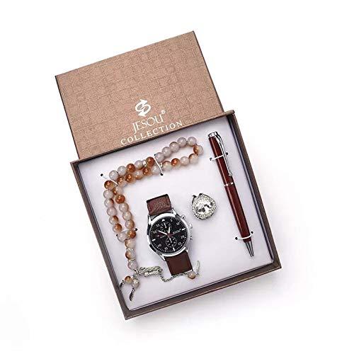 xiaoxioaguo Reloj de pulsera de cuarzo para hombre con caja de regalo para hombre, diseño de rosario, pulsera y anillo de firma, combinación para hombres regalos Brownset