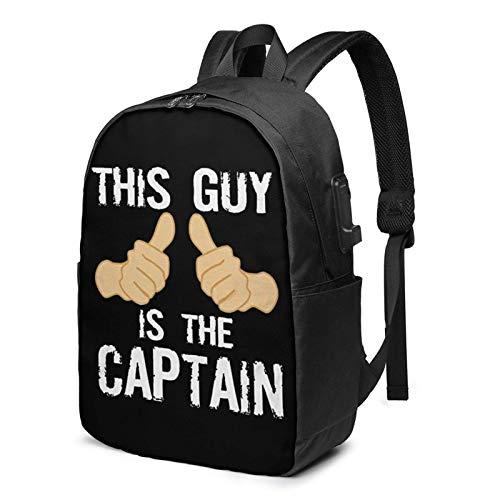 Hdadwy Divertido capitán de Barco Que Dice Mochila de 17 Pulgadas con computadora portátil USB Utilizada para Viajes, Negocios, escuelas