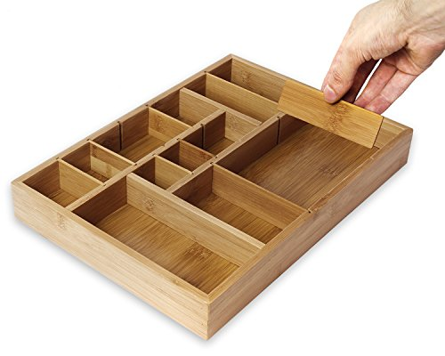 Juvale Kitchen Drawer Organizer with Removable Dividers - Silverware Organizer - Cabinet Organizer for Utensils and Cutlery - Utility Drawer Bamboo 14 x 10 x 2 Inches