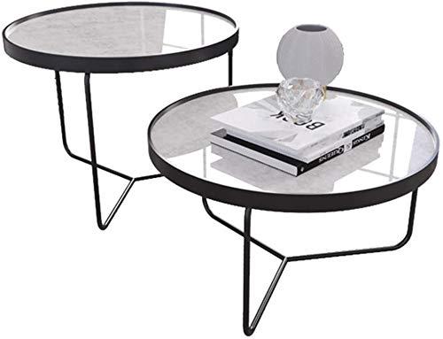 Cocoarm Lot de 3 Tables Gigognes Tables Basses R/étro Table D/'appoint Ronde Table Dembo/îtement en MDF avec Pieds en M/étal pour Bureau Salon Balcon Jardin Marron