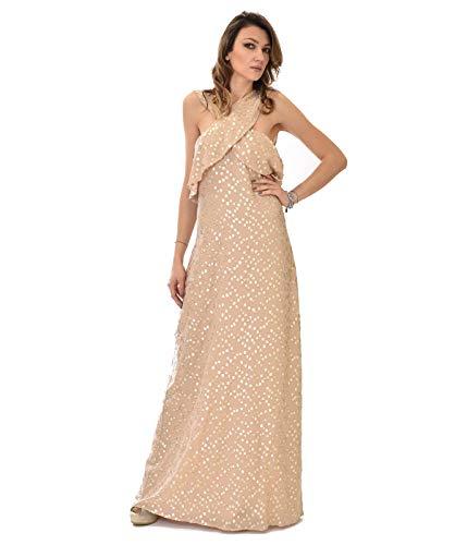 PATRIZIA PEPE jurk dames beige goud punten zijde