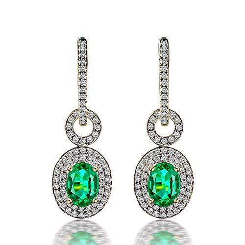 Daesar Pendientes Oro Amarillo 18K Mujer,Oval Esmeralda Verde 1.21ct Diamante 0.57ct,Plata Verde