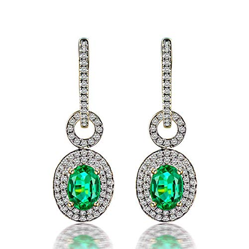 Bishilin Oro Amarillo de 18 K, 1.21ct Esmeralda Ovalada Con Diamante Pendientes de Gota Elegante Ajuste Cómodo Pendientes de Gota Para Mujer Colgantes Elegantes Para Cumpleaños Navidad