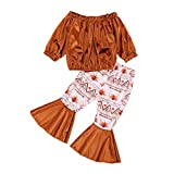 Toddler Baby Girl Thanksgiving Christmas Outfits Velvet Long Sleeve T-Shirt Top Bell Bottom Flare Pants Fall Winter Clothes (A-Wheat, 4-5 Years)
