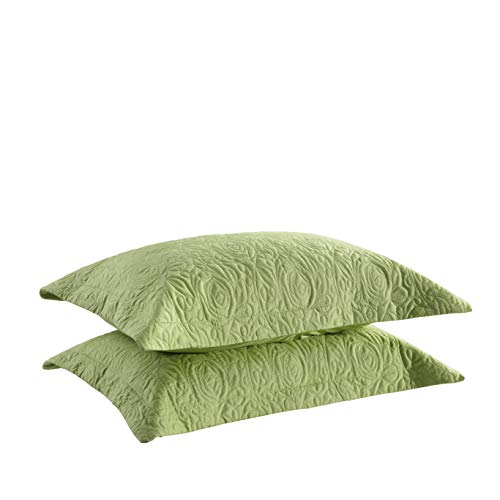 MarCielo 2-Piece Embroidered Pillow Shams, Queen Decorative Microfiber Pillow Shams Set Standard Size (Green)