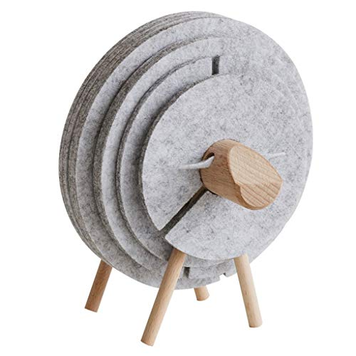 Zxb-shop Coasters for Drinks Nordic Creative Coaster Anti-Skid Insulation Absorbent Pad Simple Western Placemat Round Coaster Sheep Gift Ornaments Coasters for Drinks Holder (Color : A)
