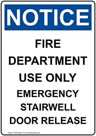 Kennisgeving Brandweer Afdeling Gebruik Alleen Noodsituatie Stairwell Deur Release OSHA Veiligheidsbord, Aluminium, Metalen waarschuwingsborden, Privébord, Kennisbord, Tuin Omheining Sign,8
