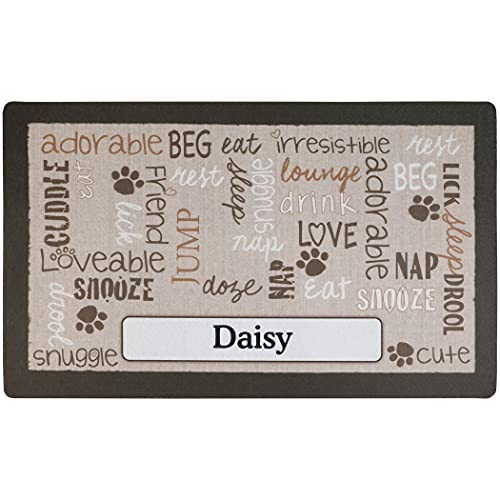 Drymate Personalized Pet Bowl Placemat, Custom Dog & Cat Food Feeding Mat - Absorbent Fabric, Waterproof Backing - Machine Washable/Durable (USA Made) (12' x 20') (Linen Tan)