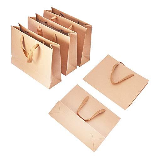 PandaHall Geschenktüten aus Papier, für Hochzeitsgeschenke, mit Schleife, 265x 175mm, 10Stück, Papier, Burlywood, 27x21x8cm