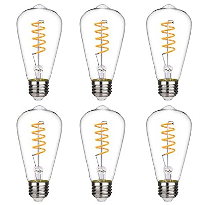 Dimmable Vintage LED Edison Bulbs, Warm White 2700K, Antique Spiral LED Filament Light Bulbs, 4.5W Equivalent to 40W, ST64 (ST21) 450LM E26 Medium Base, Clear Glass (4.5W-2700K-6 Pack)