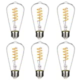 Dimmable Vintage LED Edison Bulbs, Warm White 2700K, Antique Flexible Spiral LED Filament Light Bulbs, 4.5W Equivalent to 40W, ST19(ST64) 450LM E26 Medium Base, Clear Glass (4.5W-2700K-6 Pack)