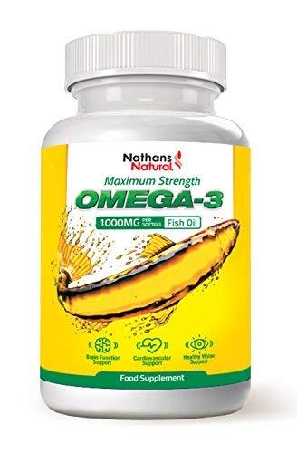 Omega-3-Fischöl mit maximaler Stärke - 1000mg: 180 EPA, 120 DHA, Vitamin E pro Portion - 180 Softgel-Kapseln von Nathans Natural