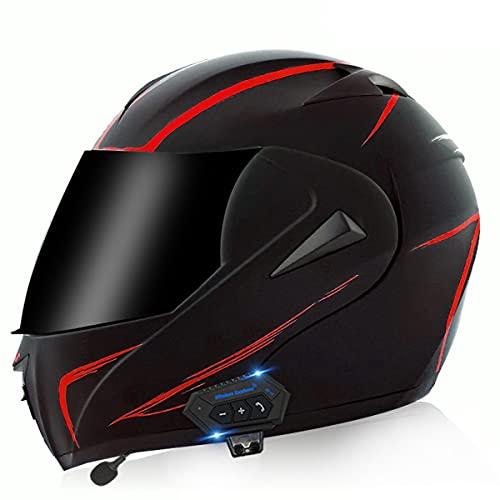 Casco de Moto Modular Bluetooth Integrado ECE/DOT Homologado con un Micrófono Incorporado Anti Niebla Visera Doble Adultos Hombres Mujeres Cascos Moto 5 ventilaciones(Size:S (55-56CM),Color:A)