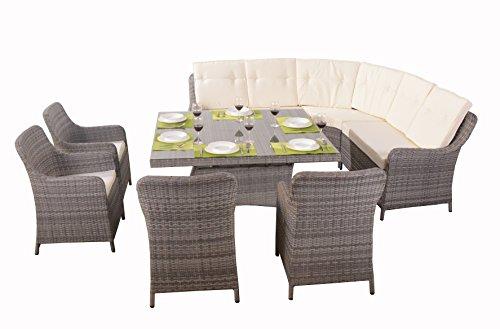 Polyrattan Sofaset Essgruppe Gartenmöbel Set Ecksofa für Terrasse oder Garten aus Rattan Loungemöbel Santa Cruze grau Esstisch mit 4 Stühlen