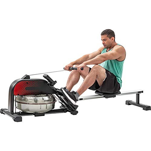 Water Rowing Machine with LCD Monitor, Foldable Rower Fitness Equipment, 220 LB Weight Capacity