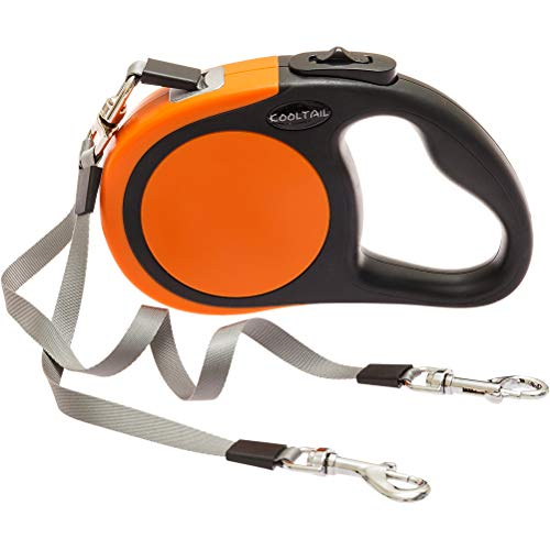 Dual Retractable Dog Leash - Heavy Duty Double Headed 16 ft Extendable Dog Leash for Small Medium Dogs Walking Training, Walk 2 Dogs up to 110 lbs