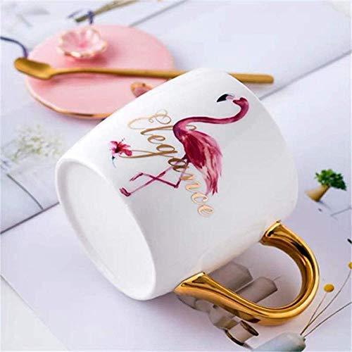 Novedad Tazas de cerámica de flamenco rosado con tapa y cuchara Taza de café de porcelana elegante para mujer (Caja de regalo Flamenco rosado)