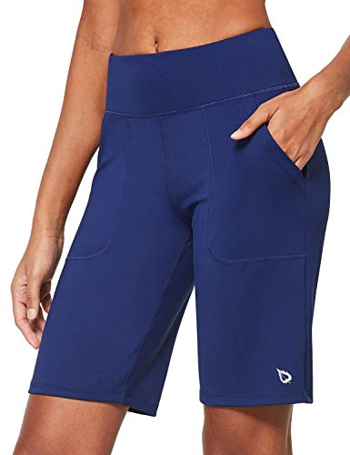 BALEAF Women's 10'' High-Rise Bermuda Long Shorts Workout Sports Training Yoga Running with Pockets Navy Size L