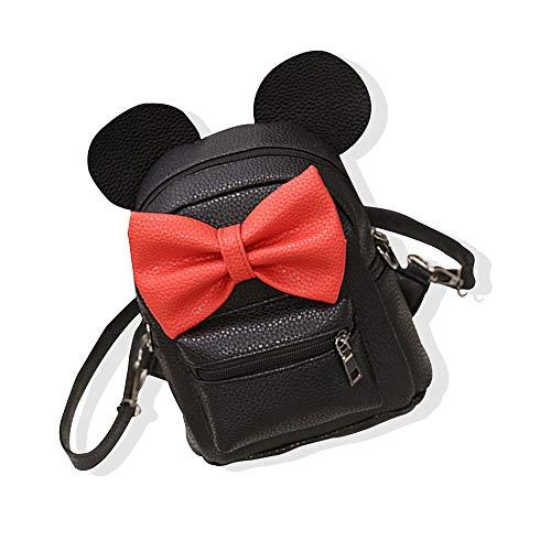 Xiton 1PC Cartoon Backpack PU Leather Animal Ear Bowknot Mini Backpack Cute Shoulder School Bag Travel Satchel Casual Bag for Kids Girls