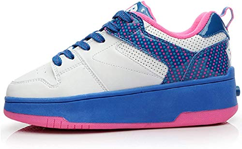HEELYS POP Push | Push Button Wheeled Trainers for Boys and Girls | White Blue Neon Pink 2 Lttle Kid