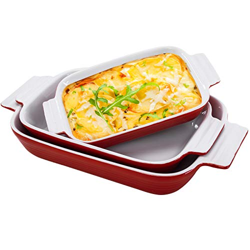 Hompiks Baking Dish Casserole Dishes Porcelain Bakeware Sets for the Oven 11.02 x 8.35 Inch Baking Dish Set of 3 for Kitchen Lasagna Red Baking Pans