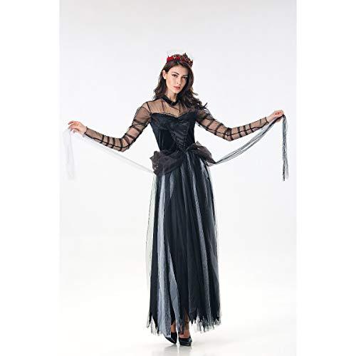WANLN Bruja Cosplay Disfraz de Miedo Fantasma Novia Disfraz de Halloween Encaje Sexy Mujer Vestido Suave Vampiro Bruja Vestido Carnaval bruxa Disfraz,Negro,OneSize