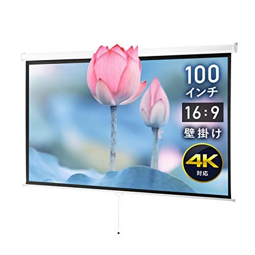 イーサプライ プロジェクタースクリーン 100インチワイド 16:9 高解像度 4K フルハイビジョン 吊り下げ 壁掛け ロール式 手動 EEX-PST3-100HDK