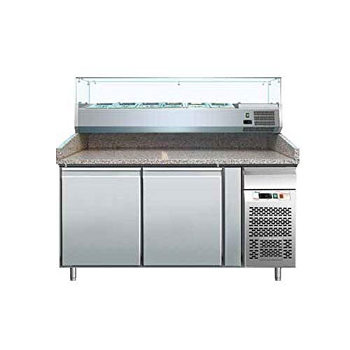 Banco pizza refrigerato con piano in granito e vetrina portacondimenti (Gn 1/3). Cm. 151